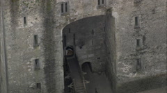 AERIAL Ireland-Visitors At Bunratty Castle Stock Footage