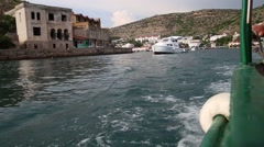 Sailing on a boat on the Bay of Balaclava Stock Footage