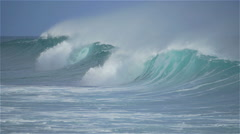 SLOW MOTION: Amazing breaking waves rolling towards the shore Stock Footage