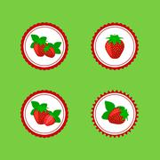 Design Stickers with Juicy Ripe Strawberry Stock Illustration
