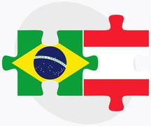 Stock Illustration of Brazil and Austria Flags in puzzle