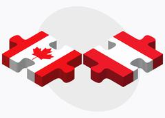 Canada and Austria Flags in puzzle Stock Illustration