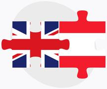 United Kingdom and Austria Flags in puzzle Stock Illustration