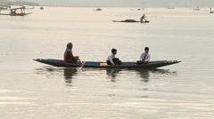 People in boat transportation in lake of Srinagar, Jammu and Kashmir , India Stock Footage