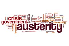 Austerity word cloud concept - stock photo