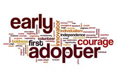 Early adopter word cloud concept Stock Photos