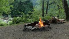 Campfire Starting Stock Footage