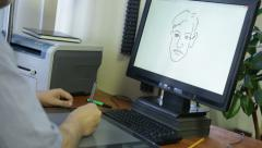 Computer graphic artist working with drawing tablet for computer, HD time lapse Stock Footage