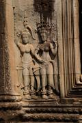 Apsara dancers decorate Angkor Wat Stock Photos