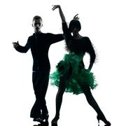 elegant couple dancers dancing silhouette - stock photo