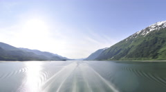 Traveling view of the Inside Passage in Alaska Stock Footage