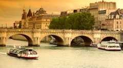 ULTRA HD 4K real time shot,The Famous bridge on the Seine river, Paris - stock footage