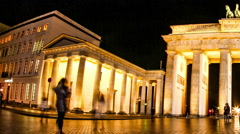 Timelapse of the Brandenburger Gate in Berlin at night Stock Footage