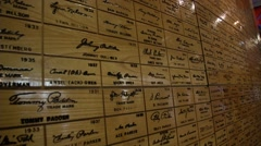 Louisville Slugger Hall of Fame Plaque wall Stock Footage