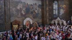 Parishioners at a Festive Service Kievo-Pecherska Lavra The Easter Service in - stock footage