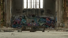Extreme Sport BMX Rider Doing Tricks in Abandoned Church Stock Footage