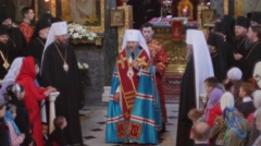 Easter Sermon of Metropolitan OnuphriusCrowd Of People Clergy Kievo-Pecherska - stock footage