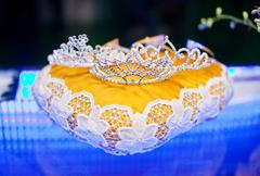 Three crown for the winner of beauty contest - stock photo
