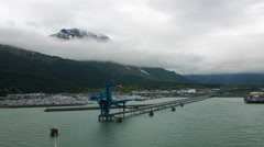 Time-lapse shot from a cruise ship as it leaves the port in Seward, Alaska. Stock Footage