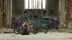 Brutal BMX crash - graffiti urban background - stock footage