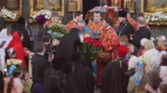 Stock Video Footage of Congratulations of Metropolitan Onuphrius Crowd of People Clergy