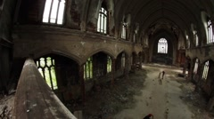 Abandoned Urban Exploration - St. Agnes Church in Detroit Stock Footage