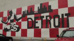 Detroit Michigan Graffiti Art on side of building Stock Footage