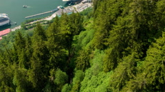 Sped-up descent on Mount Roberts Tramway, Juneau - stock footage