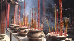 Burning Incense at the Thien Hau Temple in Ho Chi Minh City, Vietnam Stock Footage