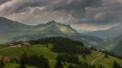 Cabin in Col de la Croix Swiss landscape Stock Footage