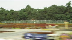 Tracking shot of pallets alongside a road in Amsterdam Stock Footage
