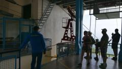 Cabin cable car arrives at the platform. Mount Ai-Petri, Crimea. Stock Footage