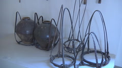 Old farm tools at Museum in Ho Chi Minh City, Vietnam Stock Footage