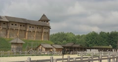 Wooden Ancient City, Log Structures, Fortress, Stadium Stock Footage
