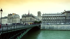 ULTRA HD 4K real time shot,The Famous bridge on the Seine river, Paris Stock Footage