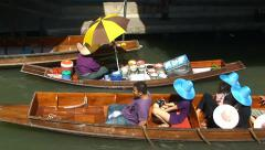 Thai floating boat market at khlong canal. Thailand Stock Footage