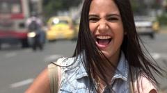 Happy Student Near City Traffic Stock Footage