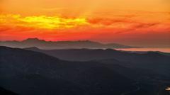 Dusk in the Cretan mountains Stock Footage