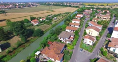 Tuscan town aerial view Stock Footage