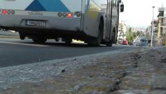 Cars in road avenue from ground base angle camera Stock Footage