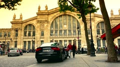 ULTRA HD 4K real time shot,The Gare du Nord railway stations in Paris Stock Footage