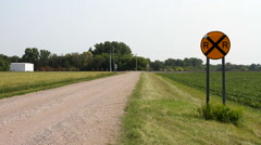 Western Minnesota 09 - Railroad Crossing / Train Crossing - stock footage