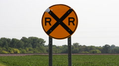 Western Minnesota 11 - Railroad Crossing / Train Crossing Sign - stock footage
