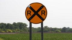 Western Minnesota 11 - Railroad Crossing / Train Crossing - stock footage