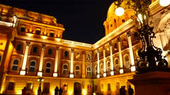 The beautiful Buda Castle in Budapest at night Stock Footage