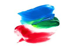 paints on the white paper - stock photo
