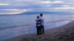 Two Young Brothers on Beach at Sunset. Stock Footage