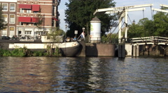 Shot of a an Amsterdam harbor Stock Footage