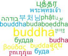 Buddha multilanguage wordcloud background concept Stock Illustration