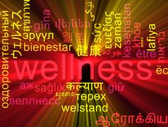 Wellness multilanguage wordcloud background concept glowing - stock illustration